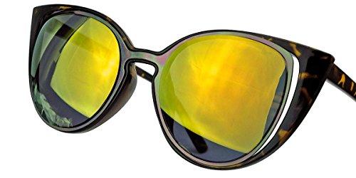 Besondere Damen Sonnenbrille im 60er Jahre Cat Eye Stil FARBWAHL FCE (Hornbrille / Gold verspiegelt) (Fendi Hüte Für Frauen)