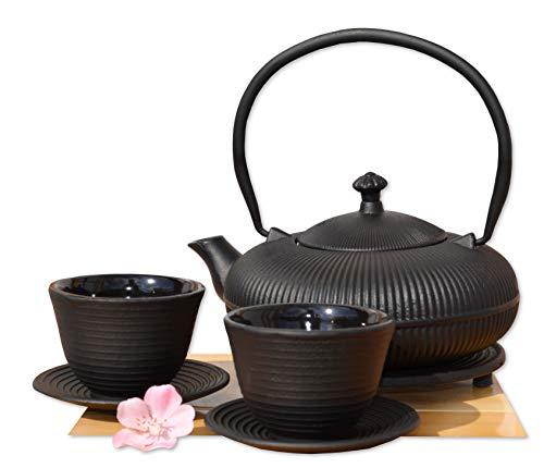 Théière en fonte d'inspiration japonaise, repose-théière, tasses design montagne zen noir 0,8 l