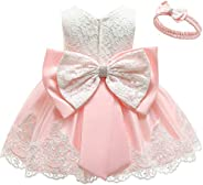 Baby Girls Dress Christening Baptism Party Formal Dress with Headwear