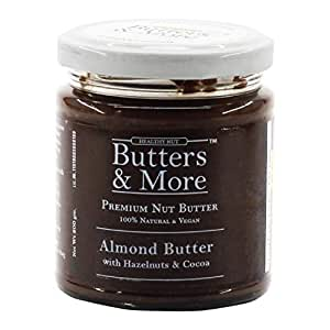 Butters & More Vegan Almond Butter with Hazelnuts, Dark Cocoa & Organic Palm Jaggery (200G). Healthy Chocolate Spread.