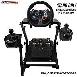 GT Omega Support de volant avec supports de levier de vitesses V1 et V2 pour Logitech G29 G920 Thrustmaster T500 T300 TX TH8A - PS4 Xbox Fanatec Clubsport - Pliable et Rréglable en Inclinaison