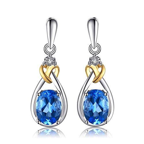 JewelryPalace Amore Knot 1.9ct Naturale Svizzero Topazio Azzurro Diamante Accentati Ciondola gli Orecchini Pendente 18K Argento Sterling 925