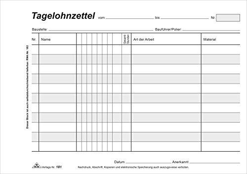 RNK 181 - Tagelohnzettel, Block mit 3 x 50 Blatt mit Durchschreibepapier, DIN A5 quer