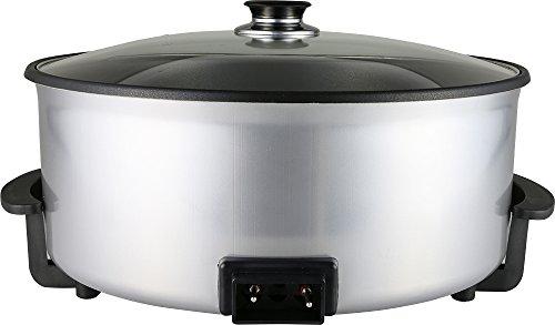 feuerfestes glas zum kochen Dekonaz Elektronische Pizzapfanne | Partypfanne | Paellapfanne | Ø42cm | Antihaftbeschichtung | Glasdeckel | Automatische Temperaturregelung | 1500W | Rund | Silber