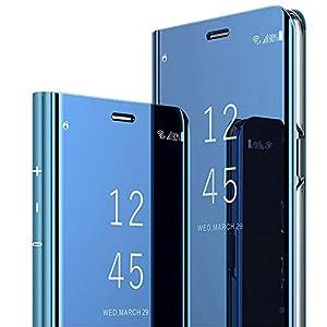 Kompatibel Samsung Galaxy S10 Plus Hülle Mirror Clear View Standing Case Spiegel Handyhülle PU Leder Flip Case Cover Handy Schutz Schutzhülle für Samsung Galaxy S10/S10 Lite