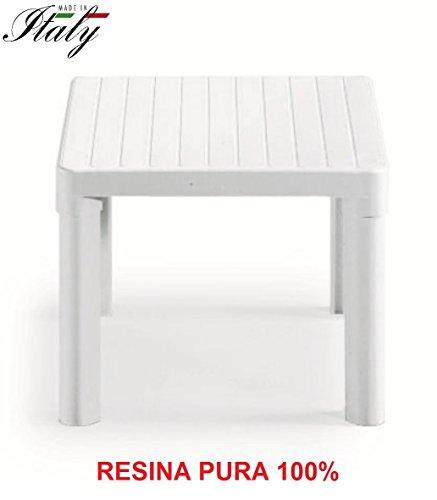 ALTIGASI Table Basse – Table d'appoint Blanc pour extérieur modèle Tip en résine Taille 47 x 47 x 38H cm – Fabriqué en Italie