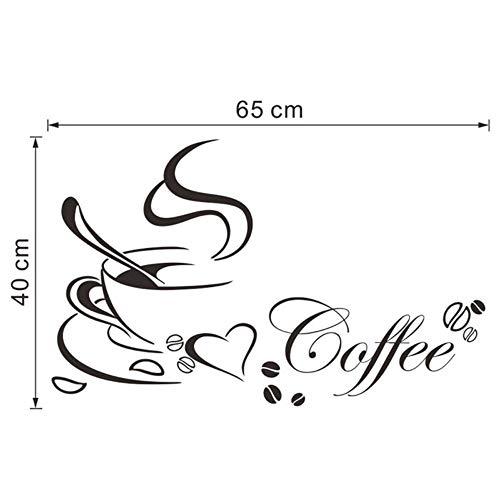 youjiu Brief Kaffeetasse Home Decals Kunst Wandaufkleber Dekoration Zubehör 65 * 40 cm