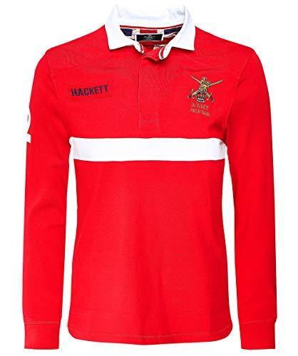 Hackett Herren Klassik passend langes Armee-Polo-Shirt Rot M - Kontrast-joch