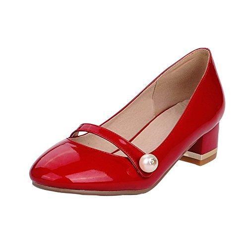 Senhoras Allhqfashion Pu Menores Vendas Rodada Toe Tração Puramente Em Bombas De Sapatos Vermelhos