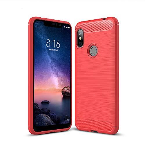 Anjoo Compatible para Funda Xiaomi Redmi Note 6 Pro, Carcasa Redmi Note 6 Pro Texture Suave y Flexible TPU Anti Deslizamiento Silicona Cases Parachoques Protectora,Rojo