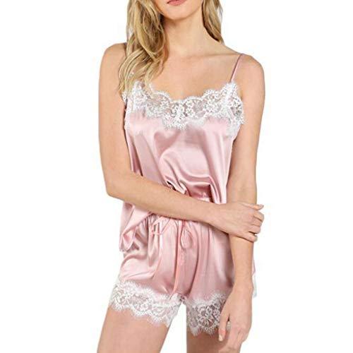 Lifet Schlafanzug Kurz, Nachtwäsche Zweiteiliger Nachthemd Sommer Pyjama Set Lace Trim Satin Cami Top Pyjama Sets S~3XL -