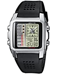 Casio Edifice - Reloj analógico - digital de caballero de cuarzo con correa de resina negra (cronómetro, alarma, luz) - sumergible a 100 metros