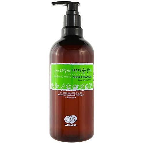 WHAMISA Organic Flowers Body Cleanser - Duschgel für Feuchtigkeit und Gereinigte Poren - Apfel Kiwi Aloe Vera Rosenholz - Koreanische Beauty Naturkosmetik 500ml -