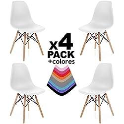 Pack 4 sillas, silla de comedor, salon, cocina o escritorio, patas madera de Haya, dimensiones: 47 x 56 x 81 cm de altura (Blanco)