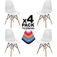 duehome Pack 4 SILLAS Comedor Blanco, 56 x 47 x 81 cm, 4 Unidades