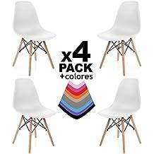duehome Nordik - Pack 4 sillas, silla de comedor, salon, cocina o escritorio