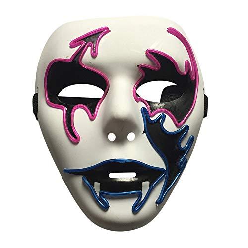 Creepy Kostüm Mädchen Clown - Riou Halloween Maske Led Light EL Wire Party Cosplay Kostüm Clown Maske Creepy Horror Scary Mask Kostüm Halbmaske Festival Karneval Fasching Halloween Deko für Erwachsene (E)