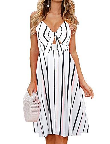 FANCYINN Sommerkleid Damen Knielang Dekoltee V-Ausschnitt Boho Rückenfreies A-Linien Kleid Midikleid (Kostüme Den Für Sommer)