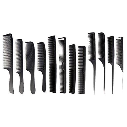 12 Stück Friseur Kamm Set Haarschneidekämme Hair Styling Kämme Friseur Zubehör Geräte, Schwarz
