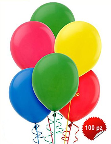 100 PALLONCINI MULTI COLOR IN LATTICE GRANDI PER FESTE