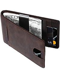 Herren Geldbörse mit Geldklammer, Echtes Leder Geldbeutel mit RFID Schutz, Ultra dünnes Portemonnaie, Kartenclip/Portmonee/Kartenetui/Geld-clip