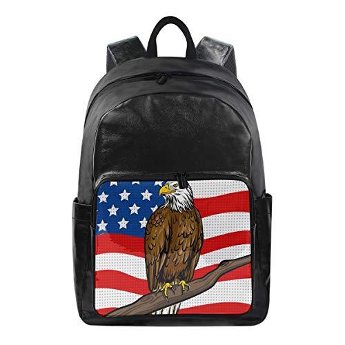 A American Flag Eagle Schultertasche Wandern Camping Daypack Schule Reise Computer Tasche für Kinder Jungen Mädchen Männer Frauen ()