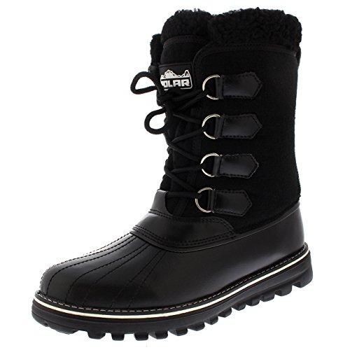 Damen Ente Wasserdicht Regen Schnee Winter Vlies Gezeichnet Warm Mittelkalb Stiefel - Schwarz Textil - UK5/EU38 - YC0504