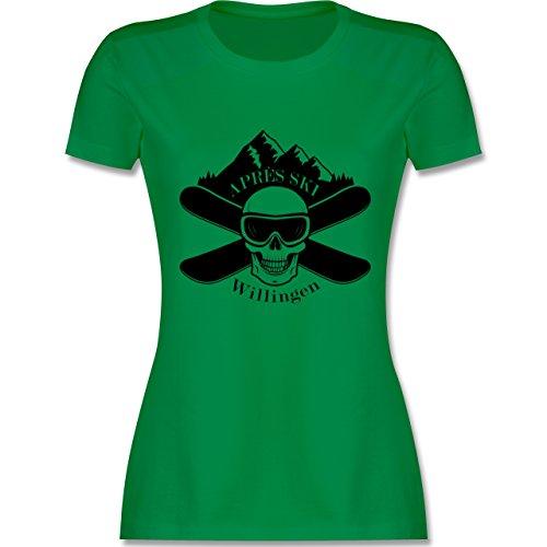 Après Ski - Apres Ski Willingen Totenkopf - tailliertes Premium T-Shirt mit Rundhalsausschnitt für Damen Grün