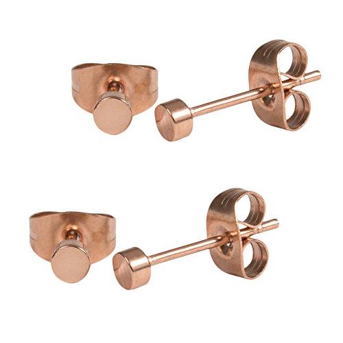 2 Paar Rosegold Ohrstecker 3mm klein runde Edelstahl Ohrringe für Damen und Herren