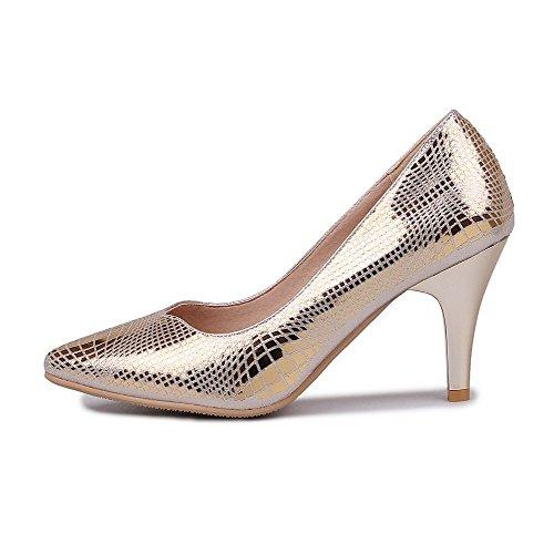 AgooLar Damen Rein Weiches Material Hoher Absatz Ziehen Auf Spitz Zehe Pumps Schuhe Golden