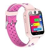 Reloj Inteligente Para Niños, Niñas y Niños Regalo de Cumpleaños o Festival SIM llamadas(Rosa)