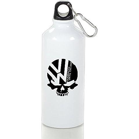 bro-custom Volkswagen símbolo de calavera de el Castigador Vogue al aire libre botella de aluminio color blanco, 400ml, Blanco