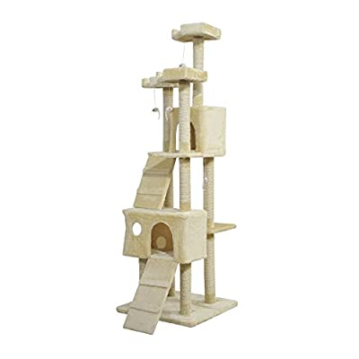 PawHut Cat Activity Centre Sisal Kitten Tree Scratch Scratcher Scratching Post Toy Climbing Tree Bed Multi Level 181cm(H) by MH STAR UK LTD