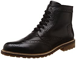 United Colors of Benetton Mens Black901 Leather Boots - 10 UK/India (44 EU)