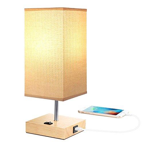 Lámpara de mesa de noche con puerto de carga USB, lámpara de escritorio de madera, minimalista y moderna lámpara de lectura en el dormitorio, oficina y salón