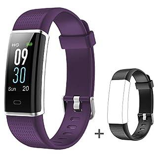 YAMAY Impermeable IP68 Smartwatch con 14 Moda Deportiva, Mujer Hombre Niño Podómetro Pulsera Inteligente Reloj Inteligente Android y iOS Teléfono (Correas +púrpura)