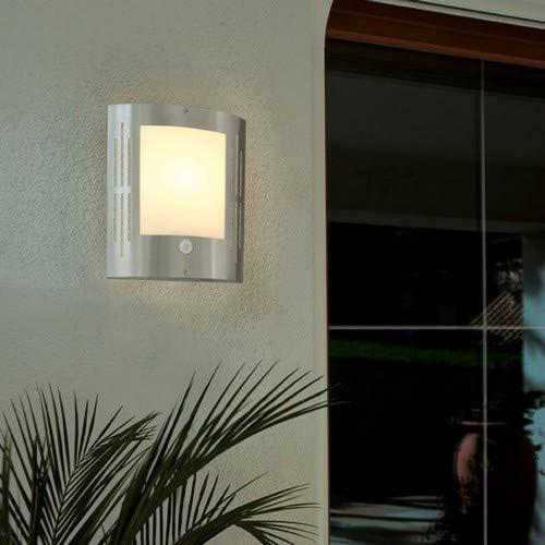 Eglo Aussen Wandleuchte Modell City/aus Edelstahl und weißem Kunststoff/HV 1 x E27 15 W/exklusiv Leuchtmittel/Schutzgrad IP33 / mit Sensor / 24 x 27 cm, 88144 -