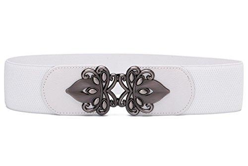 Syuer Womens Vintage Amplia elástica elástico cintura cinturón retro Cinch cinturón - Blanco - Small-Medium (66 cm/84 cm)