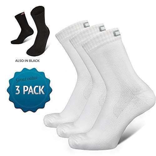 COMPRESSION FOR ATHLETES 3er Packung hochwertiger Quarter Socken von CFA Perfekt für alle Sportarten, Für Männer und Frauen. In der EU hergestellt. (Weiss - 3 Paare, 39-42) -