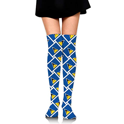 HiExotic Strümpfe Breathable Over Knee High Casual Saint Lucia Flag Weave Exotic Psychedelic Print Compression High Tube Thigh Boot Stockings Knee High Women Girl Lucia Boot