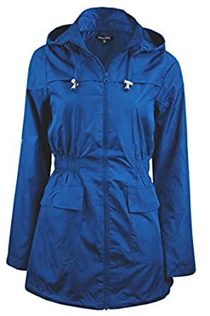 LADIES WOMENS GIRLS PLAIN MAC CAGOULE FESTIVAL RAINCOAT WITH FISHTAIL (Sizes 8-24)