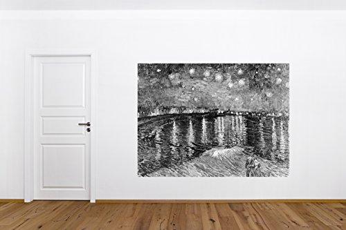 """selbstklebende Fototapete mit Winter SALE Vincent van Gogh - Alte Meister """"Sternennacht über der Rhône - schwarz weiss"""" 200x150 - cm Herstellung Made in Germany!"""