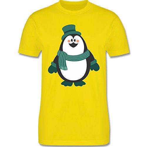 Weihnachten & Silvester - Winter Pinguin Hut Schal - Herren Premium T-Shirt Lemon Gelb