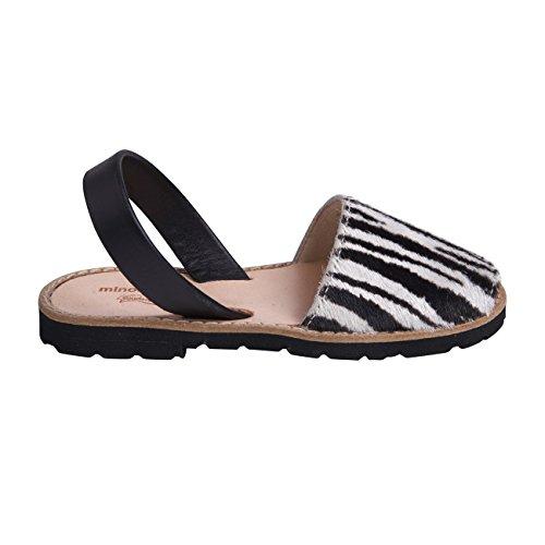 Minorquines-Sandali Avarca pelle fantasia zebrata, da bambino, Multicolore (Nero e Bianco), 34