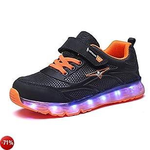Licy Life-UK Unisex Bambini Ragazzi Ragazze Scarpe Sneakers LED Lampeggiante USB Ricaricabile 7 Colori Colorati Regalo Natale Capodanno Compleanno