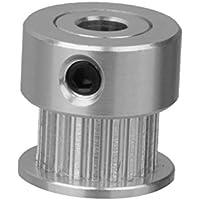 20T 8mm / 5mm Bohrung 2mm Pitch Edelstahl Zahnriemenscheibe 2 GT Silber - 5mm