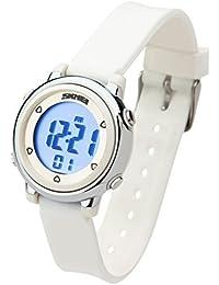 Besser Line® Digital LCD Kinder Armbanduhr Band mit stundensignal, täglicher Alarm Kalender und Funktionen (Weiß)