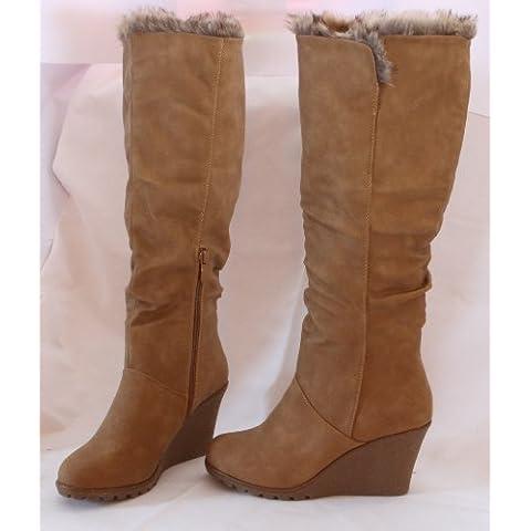Stivali donna pelle stivali invernali Scarpe stivaletti stivali donna marrone beige Camel, 39