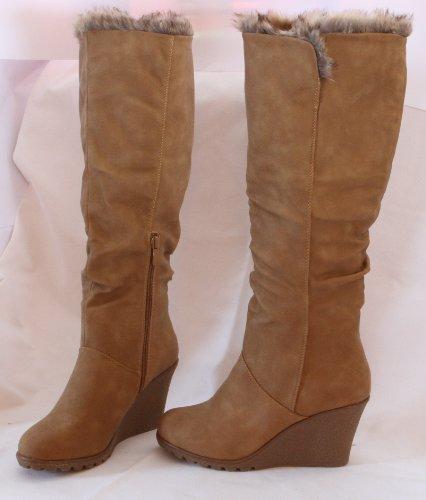 Damen-Stiefel-Fellstiefel-Winter-Schuhe-Boots-Damenstiefel-Camel-BRAUN-beige-38