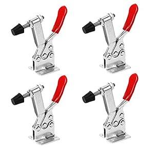 BESTONZON 4 Stücke Knebelklemme-Antislip Rot Horizontale Clamp Schnellverschluss Handwerkzeug (5,2 x 0,9 x 0,9 zoll)